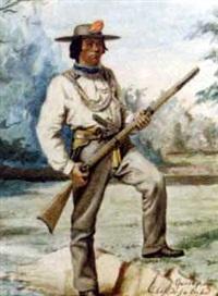 chef de la tribu des serpents oregon tenant un fusil dans un paysage by alexandre homo