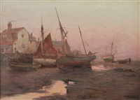 fishing boats, low tide, ipswich, england by alexander m. fleming