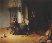 an artist in his studio by jacob van spreeuwen