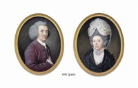a gentleman, in purple coat and waistcoat and white shirt and cravat, powdered wig; a lady, in a black silk dress (pair) by samuel cotes