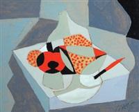 apple, bottle, and knife by jeremy annear