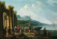 hafenszene mit ankommenden kaufleuten by jan frans van bredael the elder