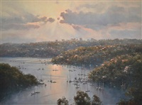 middle harbour reflections, sydney n.s.w by ramon ward thompson