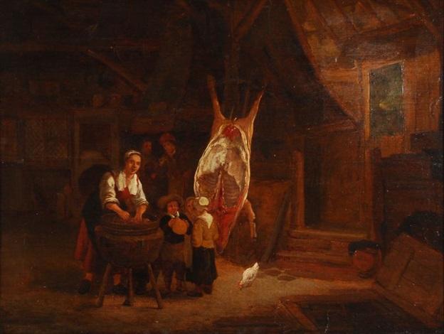 intérieur de ferme avec porc abattu by gerrit lundens