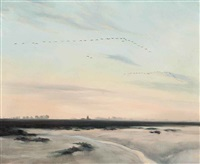 looking west towards the lighthouse by peter markham scott