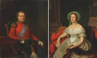 portraits of king chr. viii and queen caroline amalie (2 studies) by emilius baerentzen