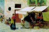 blumenmarkt an der rialto brücke in venedig by richard lipps