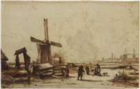 landscape with windmills on the outskirts of amsterdam by jan hulswit