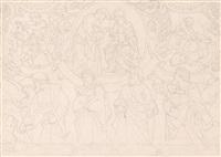 entwurf zu einem fresko mit der hl. familie, biblischen szenen und heiligen by josef von führich