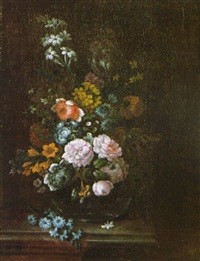 a still life of flowers in a glass vase on a stone ledge by johann felix hölzl