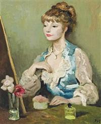 claudine à la coiffeuse (corsage bleu) by marcel dyf