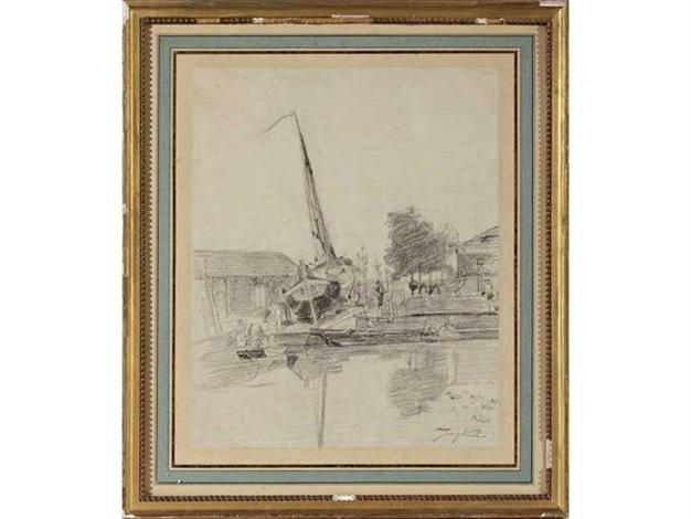 bateau à sec dans un paysage animé by johan barthold jongkind