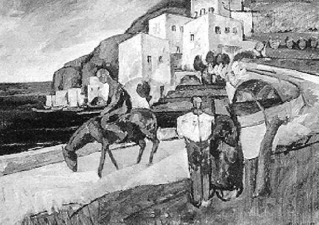 blick auf ein fischerdorf mit figuraler staffage by erich miller von hauenfels