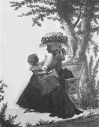 a mother and child seated under a tree by william wellings