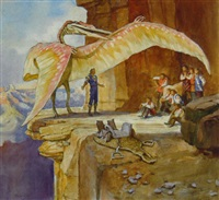 people and large dinosaur at cliff's edge by james gurney