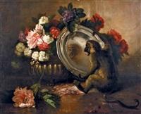 le singe se mirant dans un plat d'argent devant une jardinière en fleurs by louis noirot