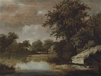 a wooded, river landscape with a thatched shed by jan hooft