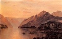 mountain landscape at sunset by thomas c. blake