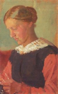 interior med siddende ung kvinde med opsat hår by anna archer