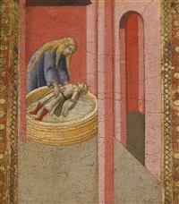 saint elizabeth of hungary reviving to life a child drowned in a well by pietro lorenzetti