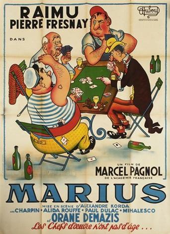 la partie de carte Marcel Pagnol, Marius, la partie de cartes poster, in 2 parts by