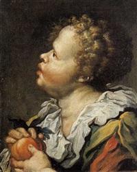 ritratto di fanciullo con frutto by giuseppe antonio pianca