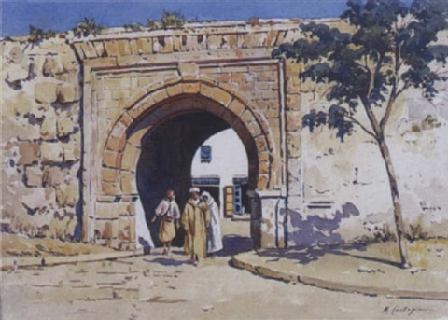 devant la porte de la ville tunis by michele cortegiani