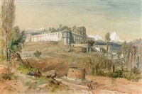 persian hill fort, with figures smoking in the foreground by jules (joseph augustin) laurens