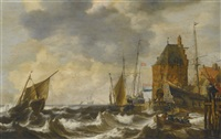 dutch vessels and a rowing boat on choppy waters by a small harbour town, a man o war safely moored and two gentlemen overlooking the scene in the foreground by bonaventura peeters the elder