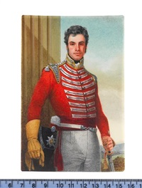 an officer of the 6th dragoons, wearing scarlet coat with silver lace and yellow piping, yellow gloves and white breeches, a sword in his left hand by michael bartlett