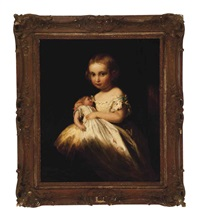 a girl holding her doll by james sant