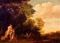 lommerrijk landschap met mercurius en putti by pieter hendrickx spykerman