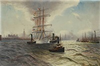 view of hamburg harbour with a sailing boat and tugs by alfred jensen