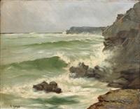 mer agitée contre les rochers by albert goepp