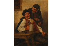 two old men drinking in a tavern by heinrich a. weber