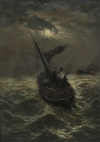 bateaux de pêche par temps orageux au clair de lune by édouard-joris moerenhout
