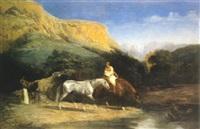 chevaux arabes à la rivière by alfred couverchel