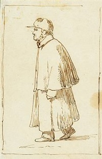 a caricature portrait of an older gentleman wearing a hat and an overcoat by johan thomas lundbye