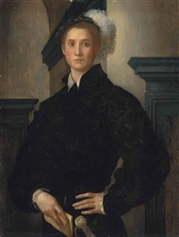 portrait of cosimo i de medici (1519-74), half-length, in a black slashed doublet and a plumed hat, holding a book by pontormo (jacopo carucci)