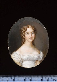 a lady wearing a white dress with puffed sleeves, her chestnut hair in ringlets by antoine-claude fleury