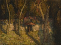 figures near a gate in a landscape by mischa askenazy