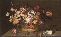 tulips, an iris, narcissi, a peony and other flowers in a basket with a carnation, a rose and a lizard on a table-top by ambrosius bosschaert the younger