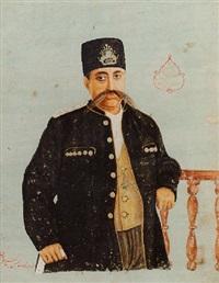 portrait of muzaffar al-din shah qajar by sani humayun abd al-husayn