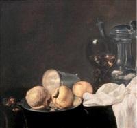 nature-morte à la coupe de pommes, cédrat, verre roemer et pichet d'étain sur un entablement by evert van aelst