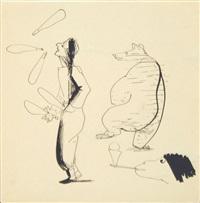 jongleur, tanzbär, affe by josef hegenbarth