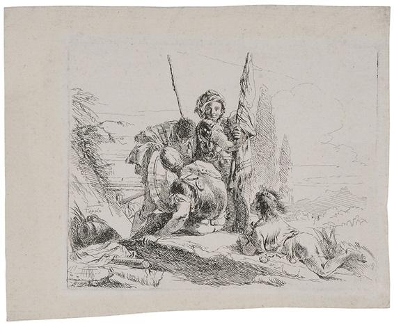 tre soldati e un ragazzo by giovanni battista tiepolo