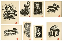collection of 8 linocuts (8 works) by josef capek
