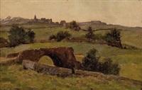 landschaft mit steinbrücke und dorf by karl spitz
