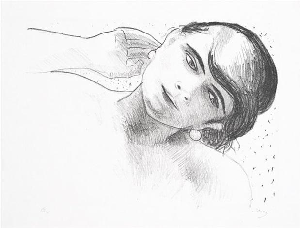 tête de femme de face portant une main à son oreille by andré derain