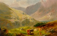 highland cattle watering in a mountainous landscape by william davies